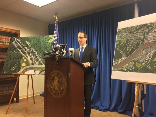 Ben Glassman, U.S. Attorney for the Southern District of Ohio speaks at a press conference March 21, 2018.