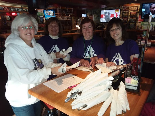 Some of the Alpha Delta Kappa (ADK) sisters who served at Applebee's Flapjack fundraiser. Pictured are (right to left) President Elizabeth Framhein, Sue Whelan, Anne Berry, and Jill Luxenberg.