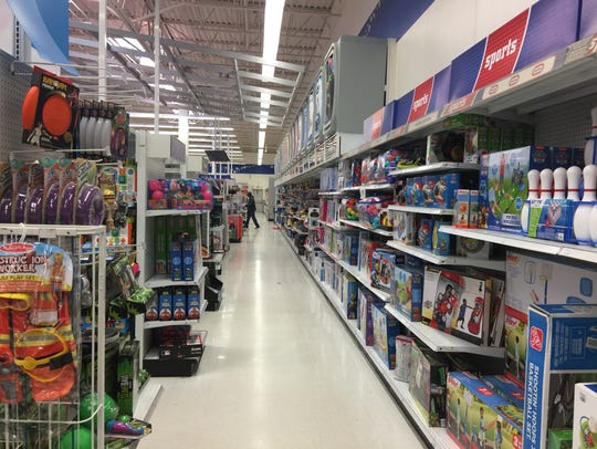 Store shelves were still filled with toys at the Greenville