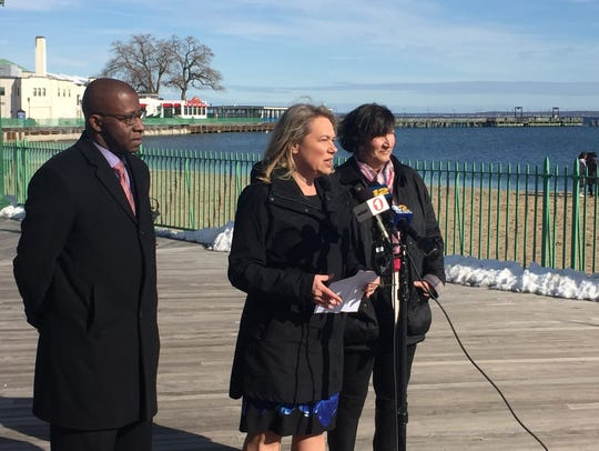 Westchester County Legislator Catherine Parker, at microphone, called for an end to the deal with Standard in 2018.