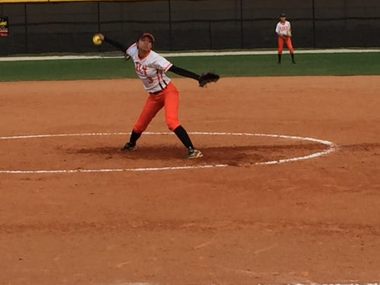 Lely sophomore Sara Leon delivers a pitch during the