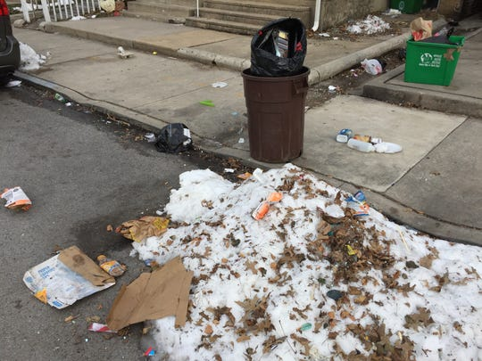 Trash on Jackson Street in York, Pa. on March 18, 2018.