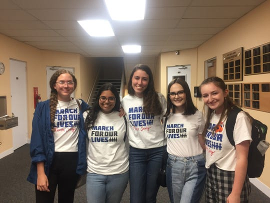 Five Martin County seniors spoke out against arming educators at a recent School Board meeting: Tori Hill, Saja Hussein, Katie O'Sullivan, Lauren Pineiro, Rachel Maunus (from left to right).