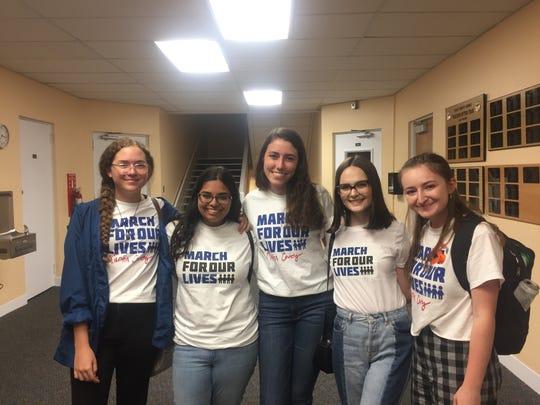 Five Martin County seniors spoke out against arming educators at Tuesday's School Board meeting: Tori Hill, Saja Hussein, Katie O'Sullivan, Lauren Pineiro, Rachel Maunus (from left to right).
