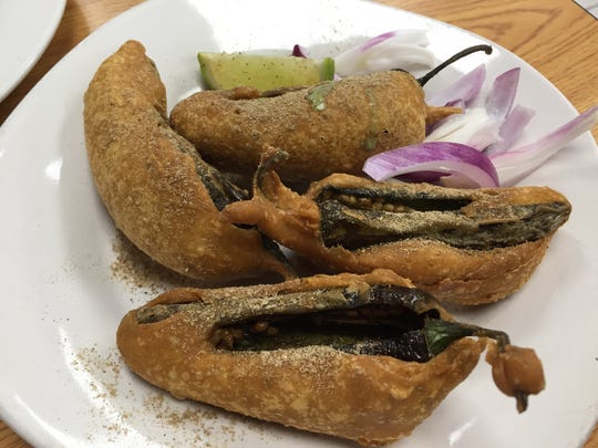 Mirchi Bajji, or peppers fried in a garbanzo bean batter, at Ravi's Hyderabad House