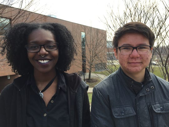 Natasha Amadasun (left) and Kenji Vann (right) at the RIT LGBTQI demonstration held on April 2nd, 2018 over access to transgender health care services.