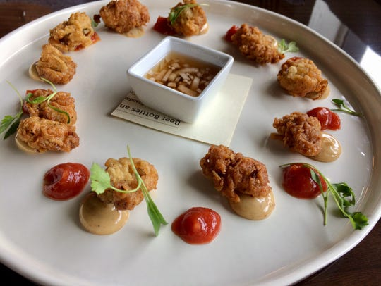 This fried oyster starter is served with a crystal-caper