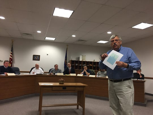 Paul Stadler, of Shrewsbury, addresses the group of people attending the Southern Regional Police commission meeting Wednesday, April 4. Christopher Dornblaser photo.