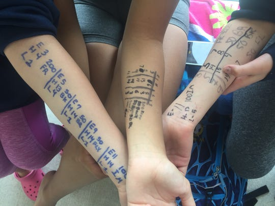 Swimmers on Saturday marked their events on their arms