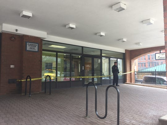 Vermont Federal Credit Union on Pine Street in Burlington seen cordoned off with police tape and an officer patrolling the front door on Tuesday, April 10, 2018, after what officials on the scene described as an attempted bank robbery.