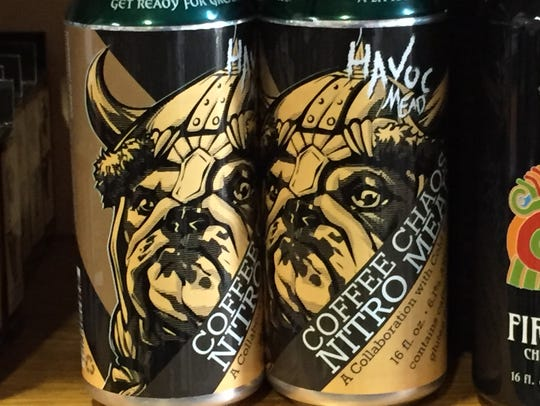 Cans of Coffee Chaos Nitro Mead on display Thursday