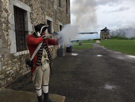 Re-enactor Scott Elliott (in character as 1775 British