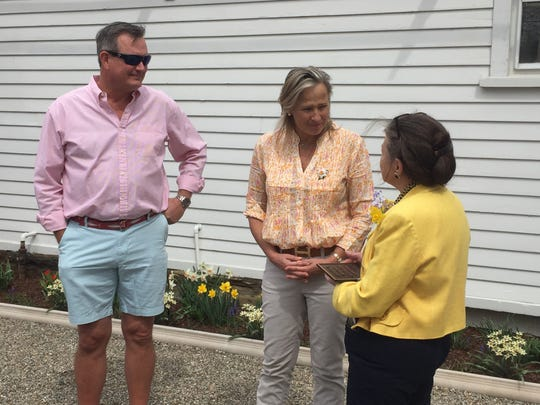 From left,  J. Park Shai III, Holly Griesse Shai and Ann Lowder during the Lady's Garden dedication.