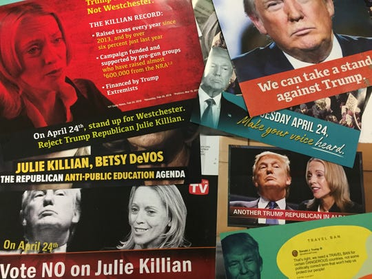 A slew of mailings seek to link Julie Killian, a Republican candidate in the 37th District, to President Donald Trump.