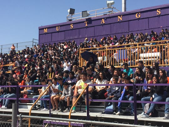 Burges High School students take part in a nationwide demonstration Friday against school violence.