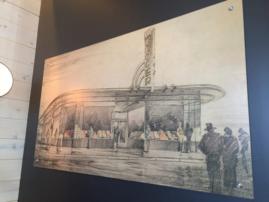 Originally a Kroger Market, the building that houses Next Door American Eatery was built in the 1920s and designed by Indiana architects Edward Pierre and George Wright. This drawing hanging inside Next Door depicts the former market on College Avenue, at  46th Street, in Indianapolis.