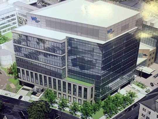 Rendering of new nine-story building proposed for the White Plains Hospital complex.