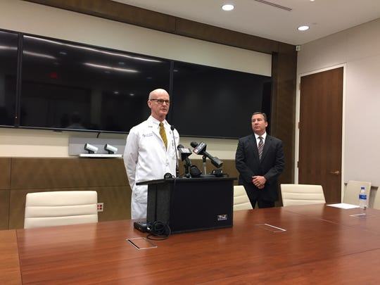 Dr. Charles O'Mara, UMMC associate vice chancellor academic affairs, spoke at a press conference Wednesday along with Kevin Cook, CEO of the UMMC health system.