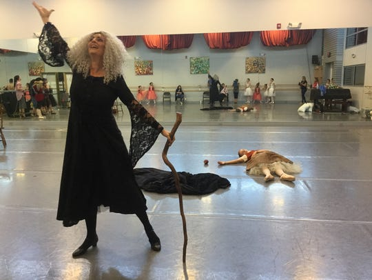 In this costume rehearsal, the wicked stepmother celebrates