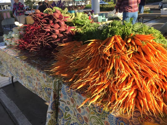 Carrots and radishes in the early morning sun at the
