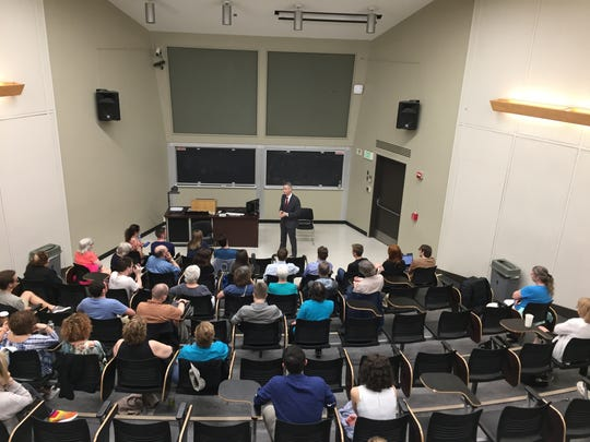 State Assemblyman Anthony Brindisi, who's running for U.S. Congress against Congresswoman Claudia Tenney, talks to students at Binghamton University on May 3.