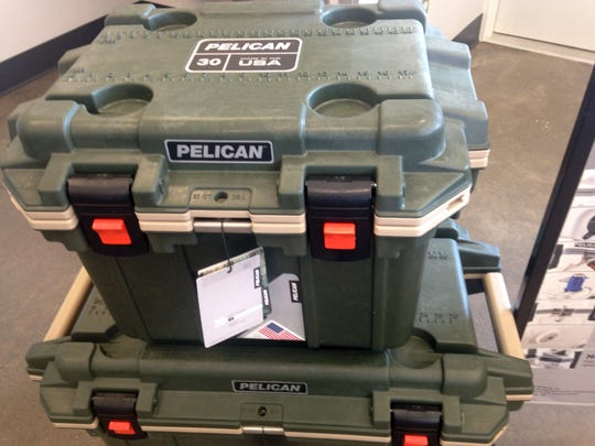 Heavy-duty Pelican coolers are popular with boaters, hunters and fishermen.