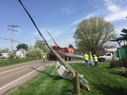 Wires are down after a trash truck crashed into a power line pole on Thornwood Drive in the area of Ramp Creek.