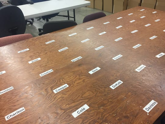 A petition processing table in a restricted part of Missouri Secretary of State Jay Ashcroft's building sits ready for document sorting on Wednesday, May 2, 2018, in Jefferson City.