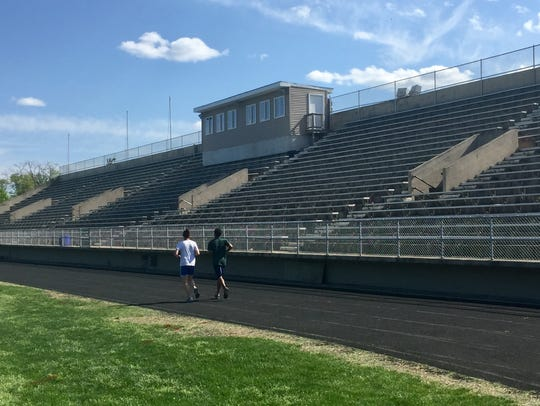 The grandstand overlooking Collingswood High School's football field, shown in a May 2018 file photo, is being demolished for safety reasons, officials say.