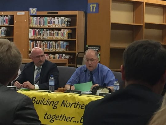 Northern Lebanon School District Superintendent Erik Bentzel, left, and Board President Glen Gray, right. Bentzel and Gray said they could not discuss the sex toy scandal involving three principals in the school district because it is a personnel issue.