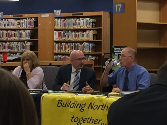 From left, Northern Lebanon School District school board secretary Pat Martin, Superintendent Erik Bentzel and Board President Glen Gray at a May 8, 2018 school board meeting.