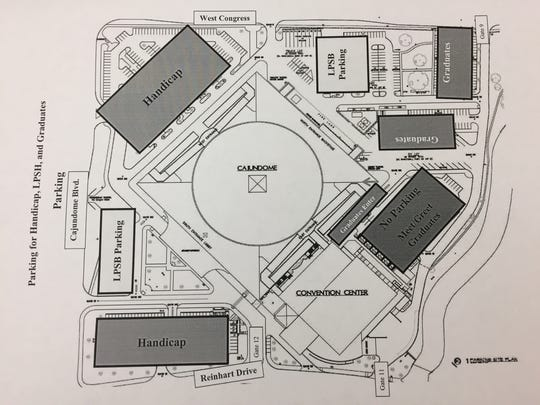 This map shows designated parking areas around the Cajundome for high school graduations.
