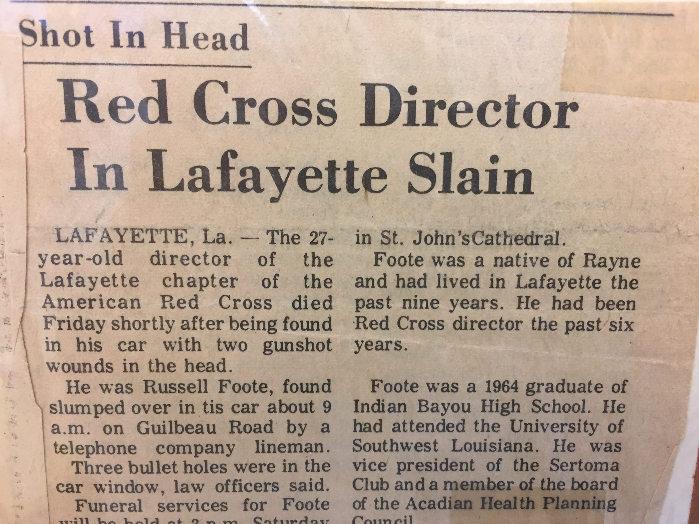 A 1974 newspaper article in The Daily Advertiser details the murder of Russell Foote.