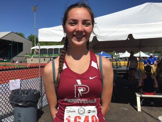 Perrydale's Amity Deters won the high jump state championship.