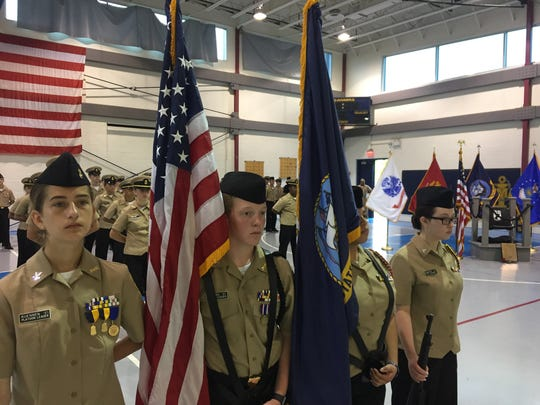 Delaware Military Academy cadets participated Thursday morning in a ceremony unveiling the school's Chair of Honor, meant to remember POW-MIA soldiers.