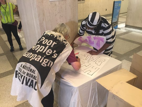 Angela Prather and Donna Cotterell make props for a