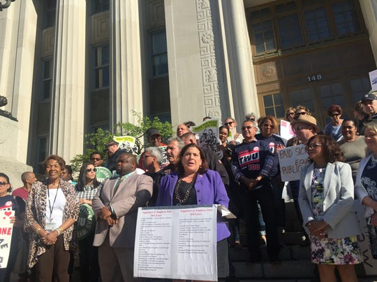 County Legislator Catherine Borgia, D-Ossining, who has sponsored a proposal for paid sick time for many employees who don't have it, addressed a rally Monday in White Plains in which speakers urged passage of the bill.