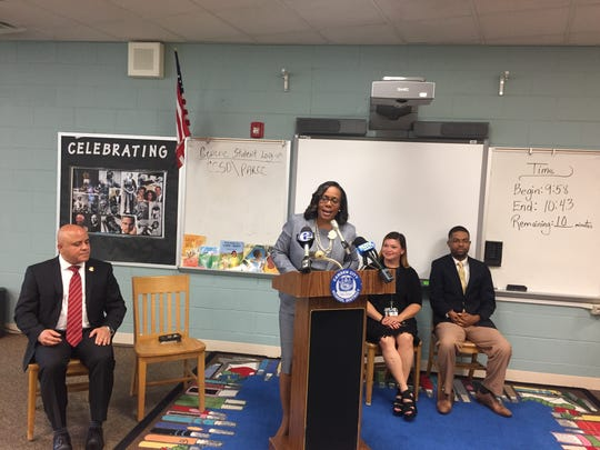 Camden Schools Superintendent Katrina McCombs, at an announcement last year about the district's gifted and talented program, is among those hailing results of state SLA test results.