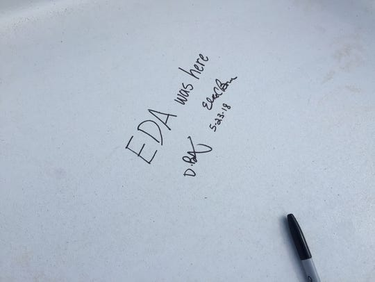 'EDA was here' is one of the message written in black