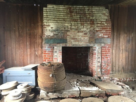 A fireplace inside a 1700s kitchen on the grounds of the Barrier Islands Center is badly in need of repair, along with other elements of the kitchen. The building is slated to be rehabilitated starting in fall 2018, and will be used for food-related exhibits and demonstrations.