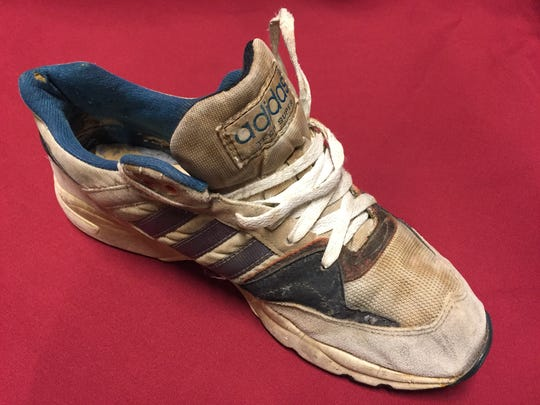 James Earl Ray's final pair of shoes from Riverbend Maximum Security Prison in Nashville are on display.