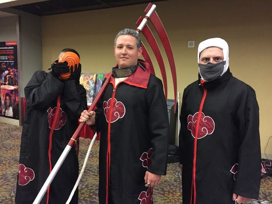 Rogan Danz as Tobi (left), Dalton Danz as Hidan (middle) and Michael Allen as Kakasaku (right) at Phoenix Comic Fest, Friday, May 25, 2018.