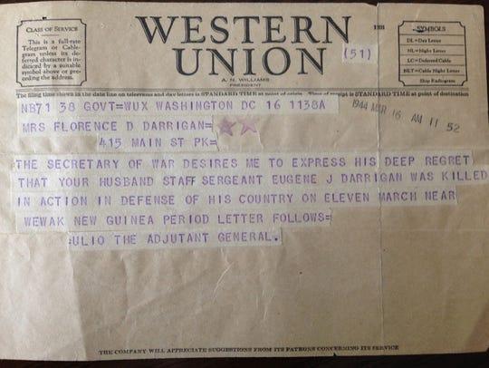 The telegram informing Florence Darrigan that her husband