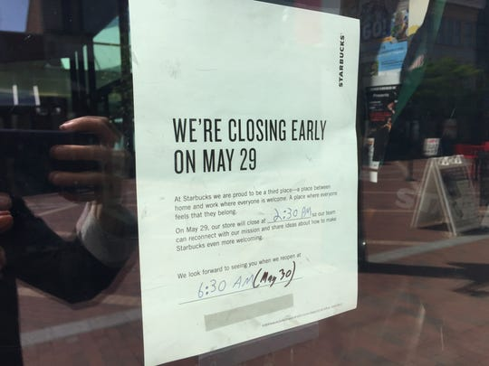 A sign on the door of the Starbucks cafe on Burlington's Church Street Marketplace announces the closure planned for 2:30 p.m. Tuesday, May 29.