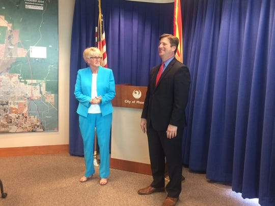 Phoenix Mayor Greg Stanton and Vice Mayor Thelda Williams