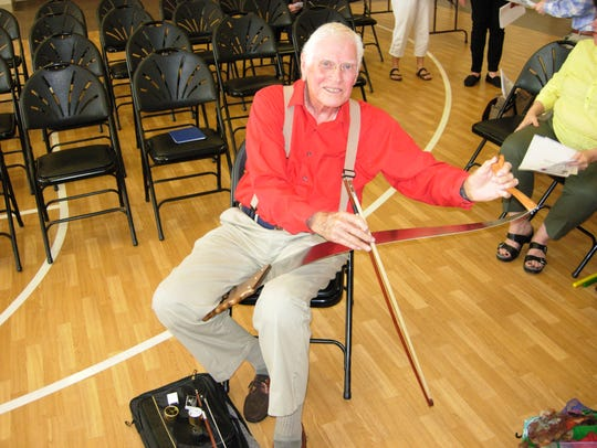 Bob Maddox has been playing the musical saw for 68 years. He said he is in favor of an amendment that would ban amplified sound on public property inside city limits.