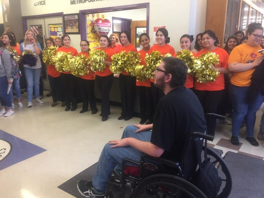 "The day Ezequiel ""Zeke"" Cuestas returned to school after being out for about a year due to his diagnoses of leukemia, Miller High School students welcomed him with a mini pep rally."
