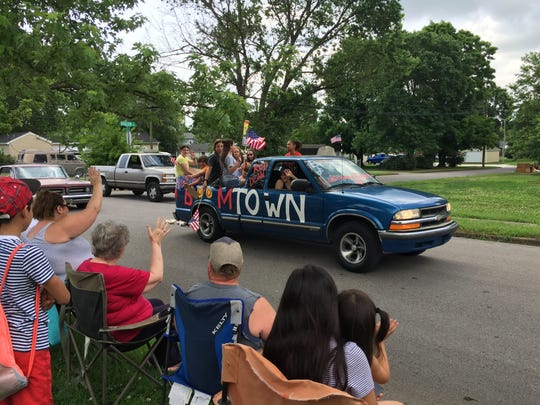 """This """"Boomtown"""" truck was part of the parade to celebrate"""