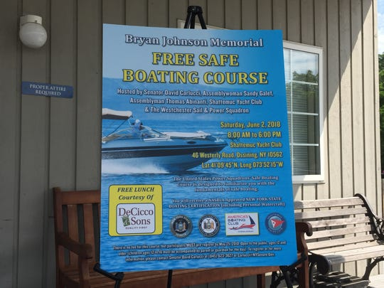 A board advertising the safe-boating course outside Shattemuc Yacht Club.
