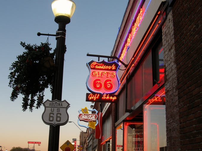 The neon lights of Williams are a reminder of the town's